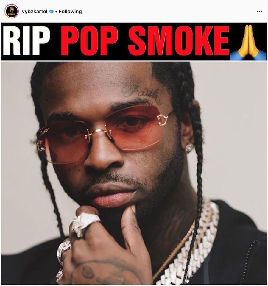 Dancehall artiste Vybz Kartel Mourns American rapper Pop Smoke