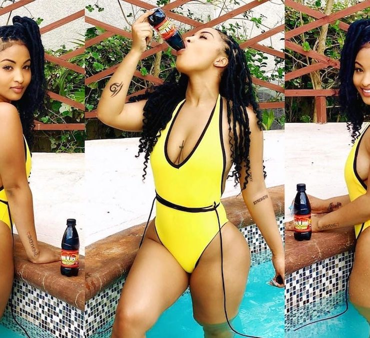 Shenseea Sports Yellow Swimsuit At Poolside
