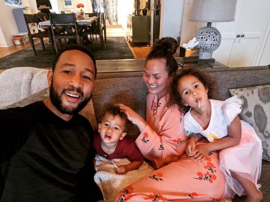 John Legend with wife Chrissy Teigen and children Luna and Miles