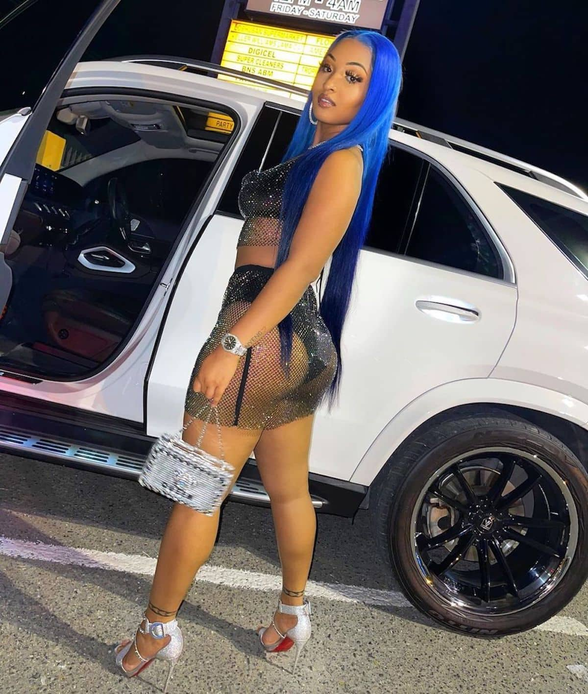 Shenseea Wears Sparkly See-Through Crop Top And Mini Skirt Outfit